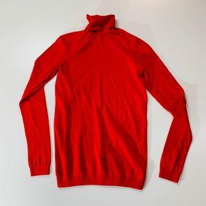 GAP Red Turtleneck Silk Blend Long Sleeve Medium